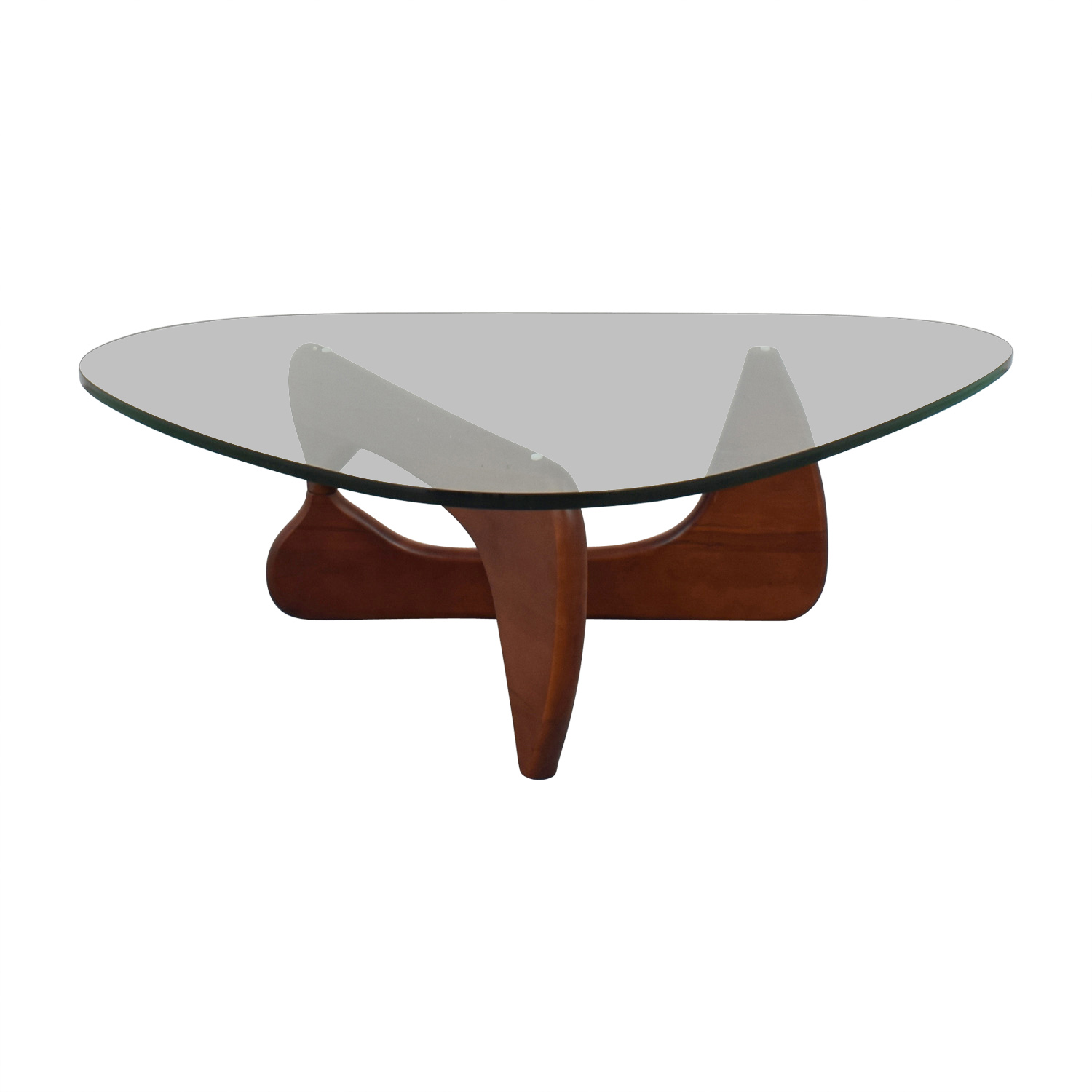 buy Modway Isamu Noguchi-inspired Triangle Glass Coffee Table with Cherry Wood Modway