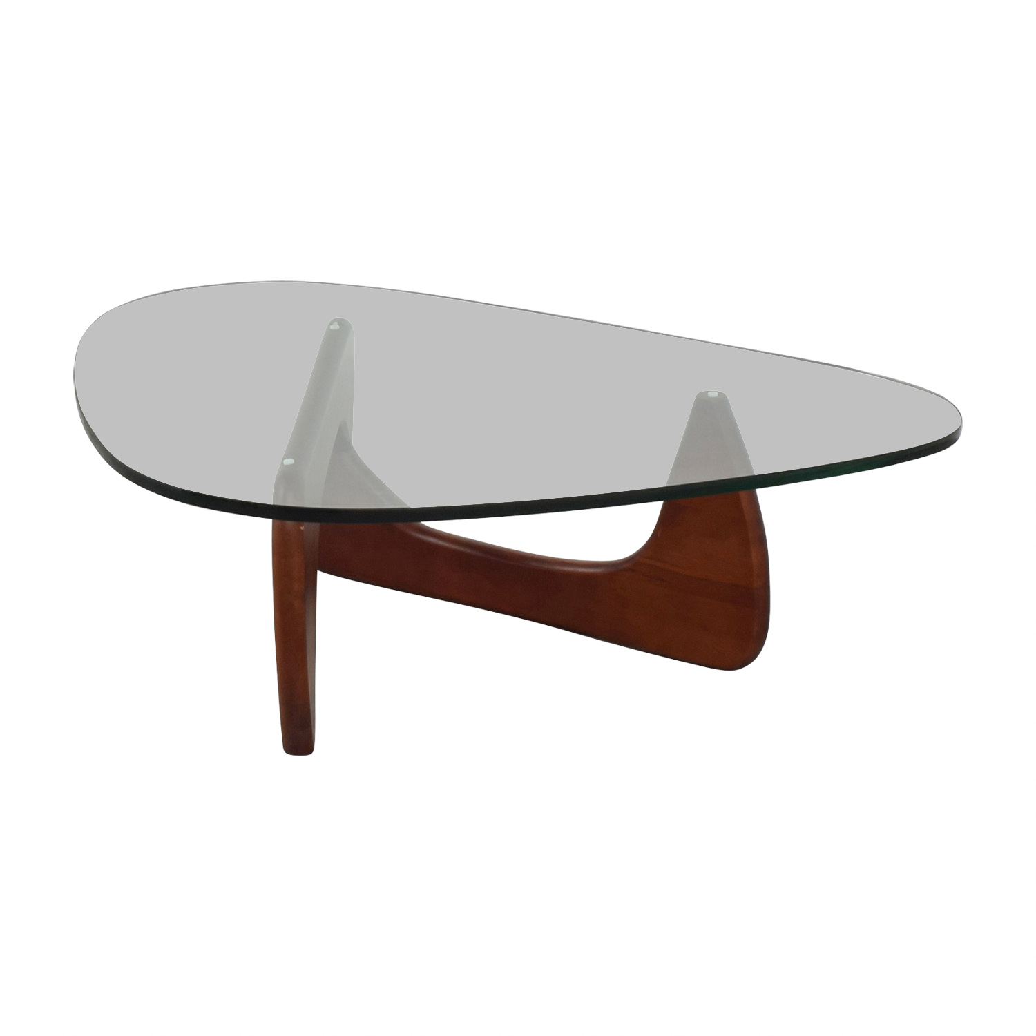 buy Modway Isamu Noguchi-inspired Triangle Glass Coffee Table with Cherry Wood Modway Coffee Tables