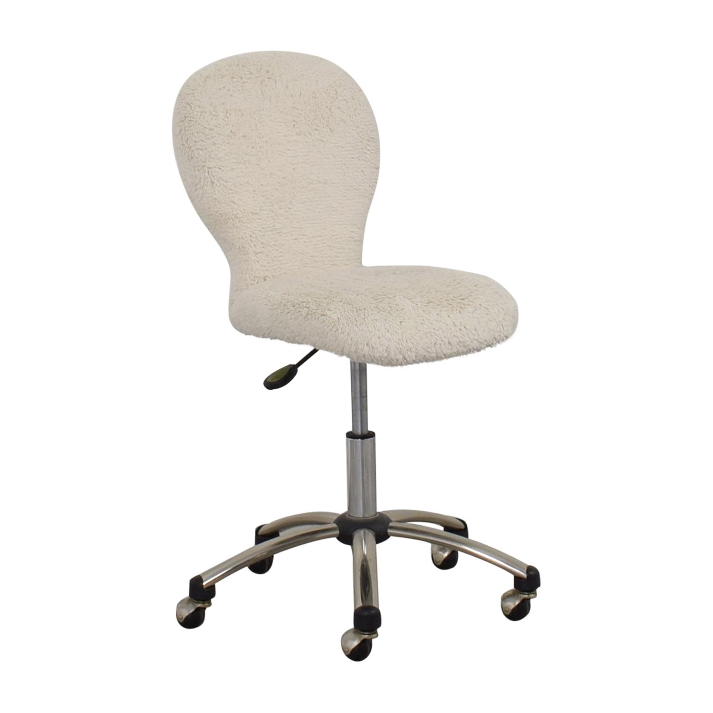 Pottery Barn White Fleece Covered Desk Chair sale