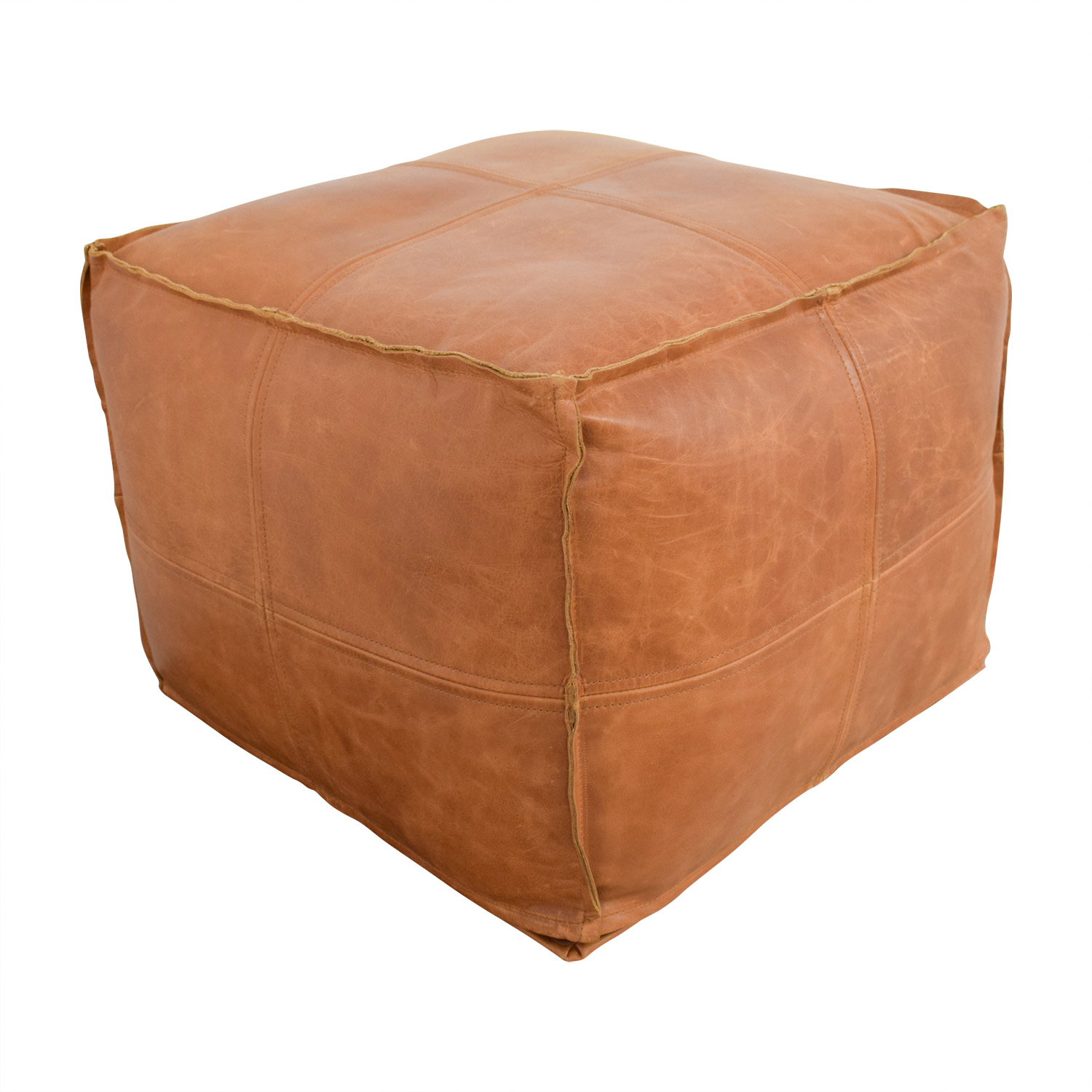 41 Off Cb2 Cb2 Saddle Brown Leather Pouf Chairs