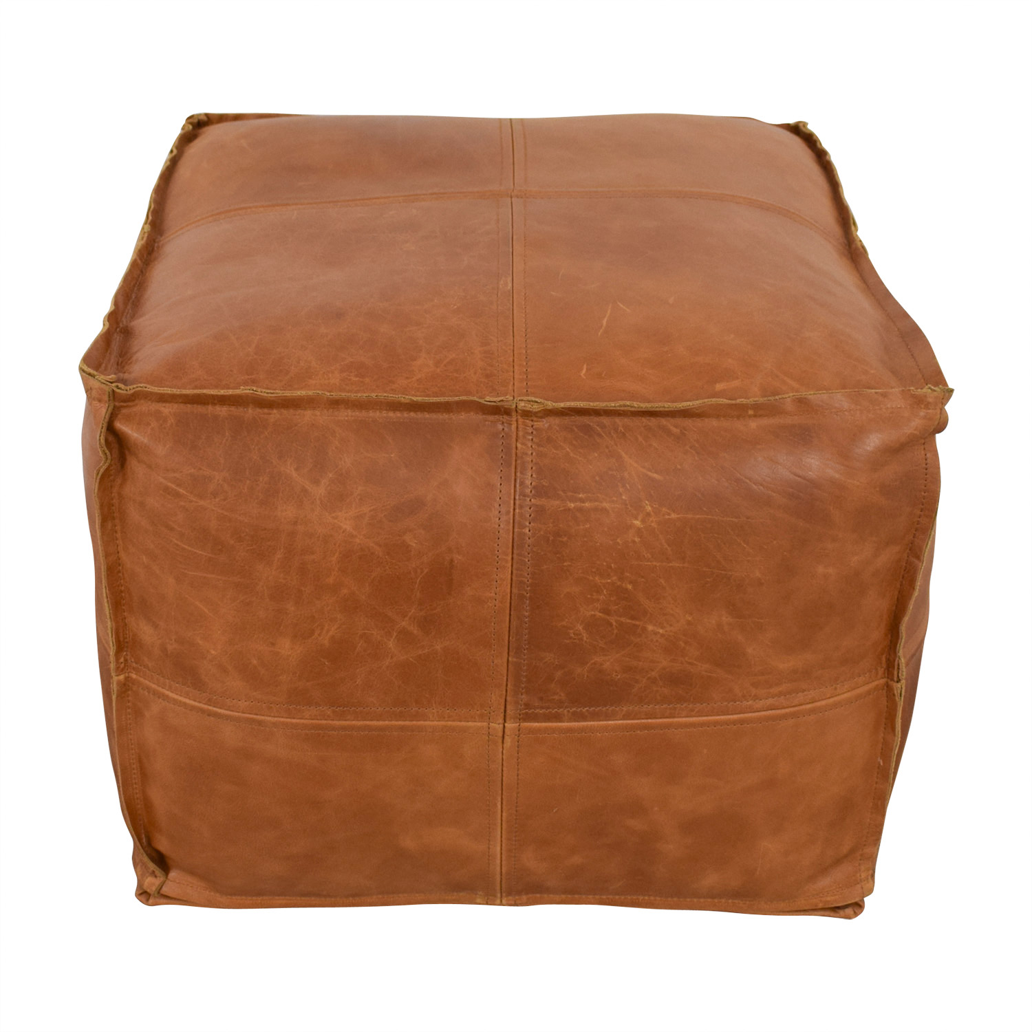 CB2 Saddle Brown Leather Pouf / Chairs