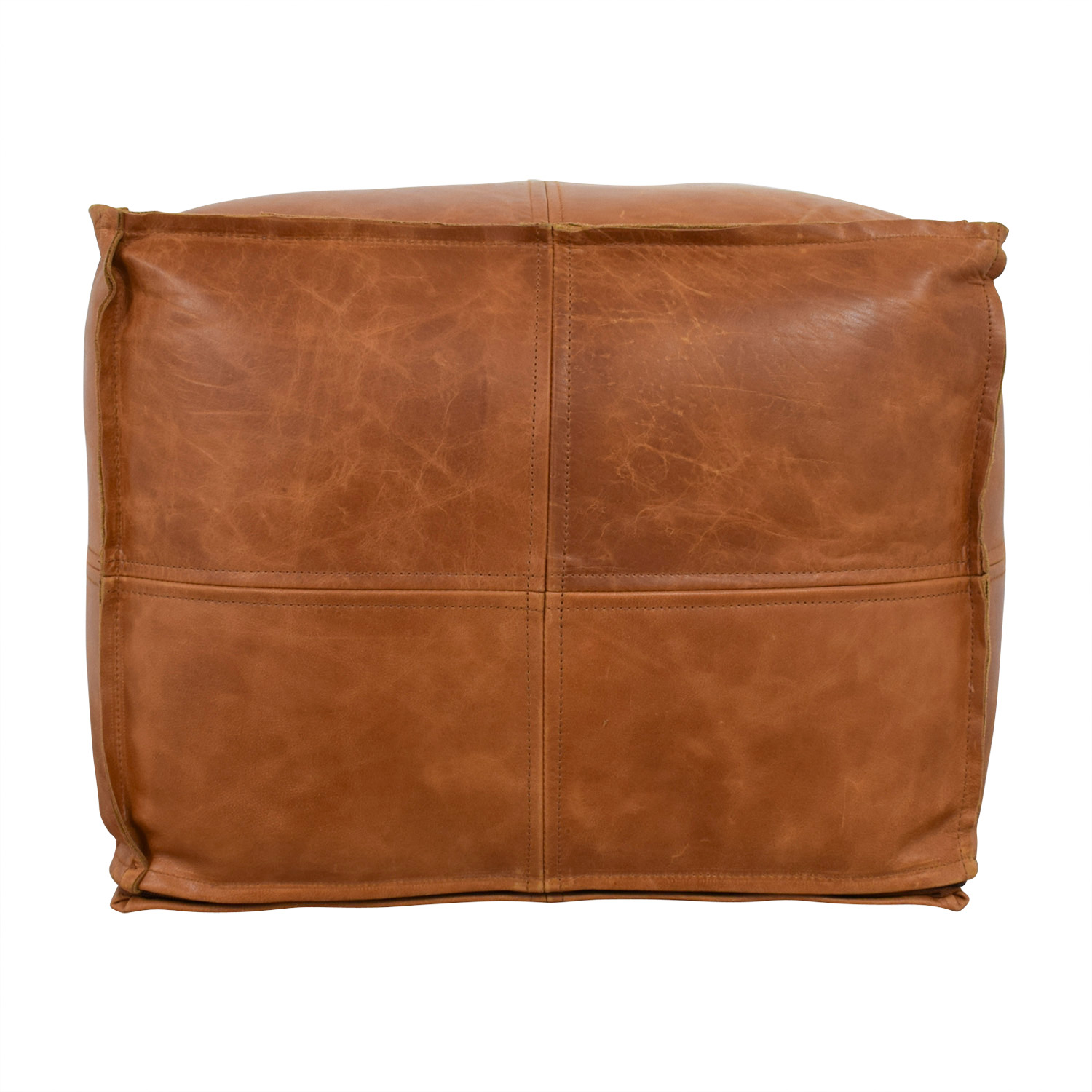 Groovy 41 Off Cb2 Cb2 Saddle Brown Leather Pouf Chairs Dailytribune Chair Design For Home Dailytribuneorg