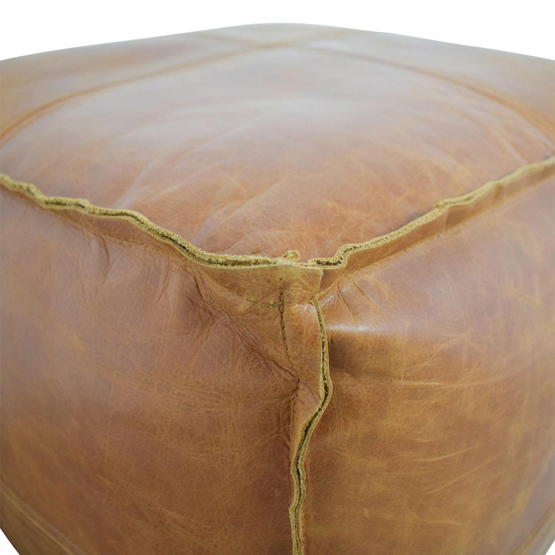 CB2 CB2 Saddle Brown Leather Pouf Orange