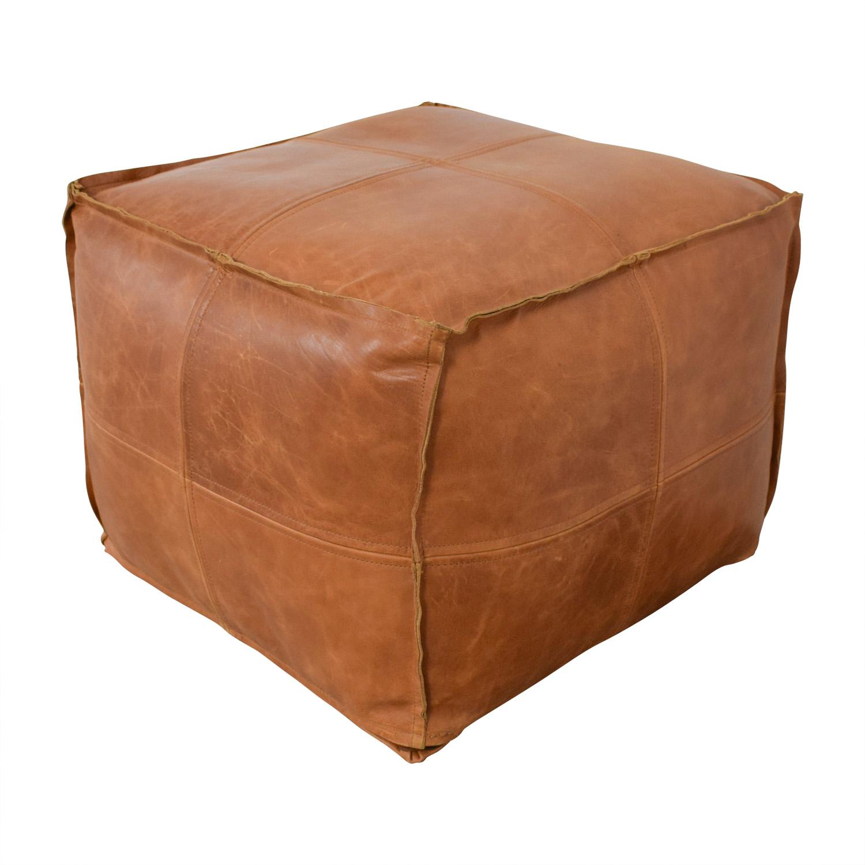 shop CB2 Saddle Brown Leather Pouf CB2