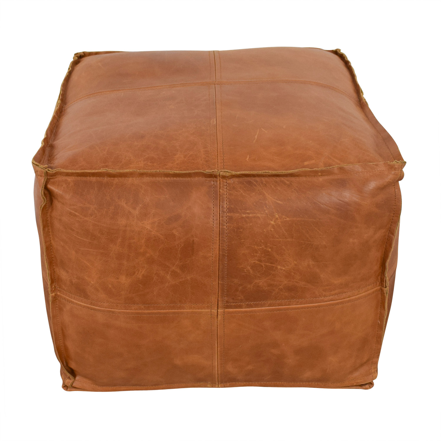 Remarkable 49 Off Cb2 Cb2 Saddle Brown Leather Pouf Chairs Dailytribune Chair Design For Home Dailytribuneorg