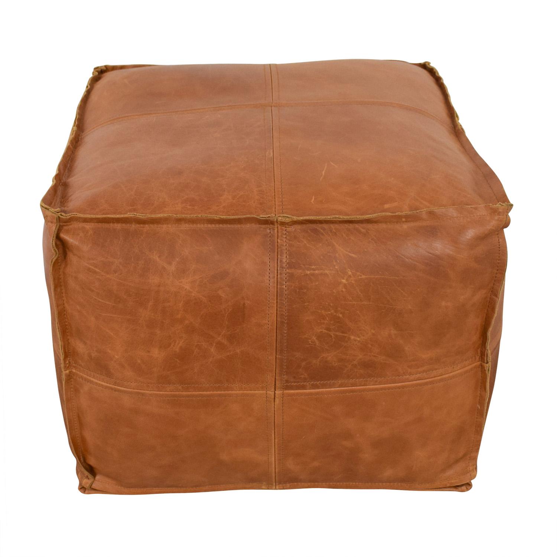 CB2 CB2 Saddle Brown Leather Pouf