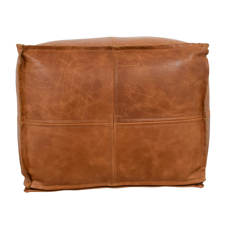shop CB2 Saddle Brown Leather Pouf CB2 Ottomans