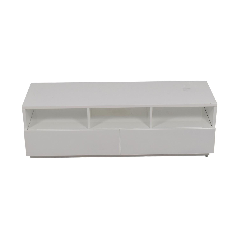 CB2 Chill White Two-Drawer Media Console sale