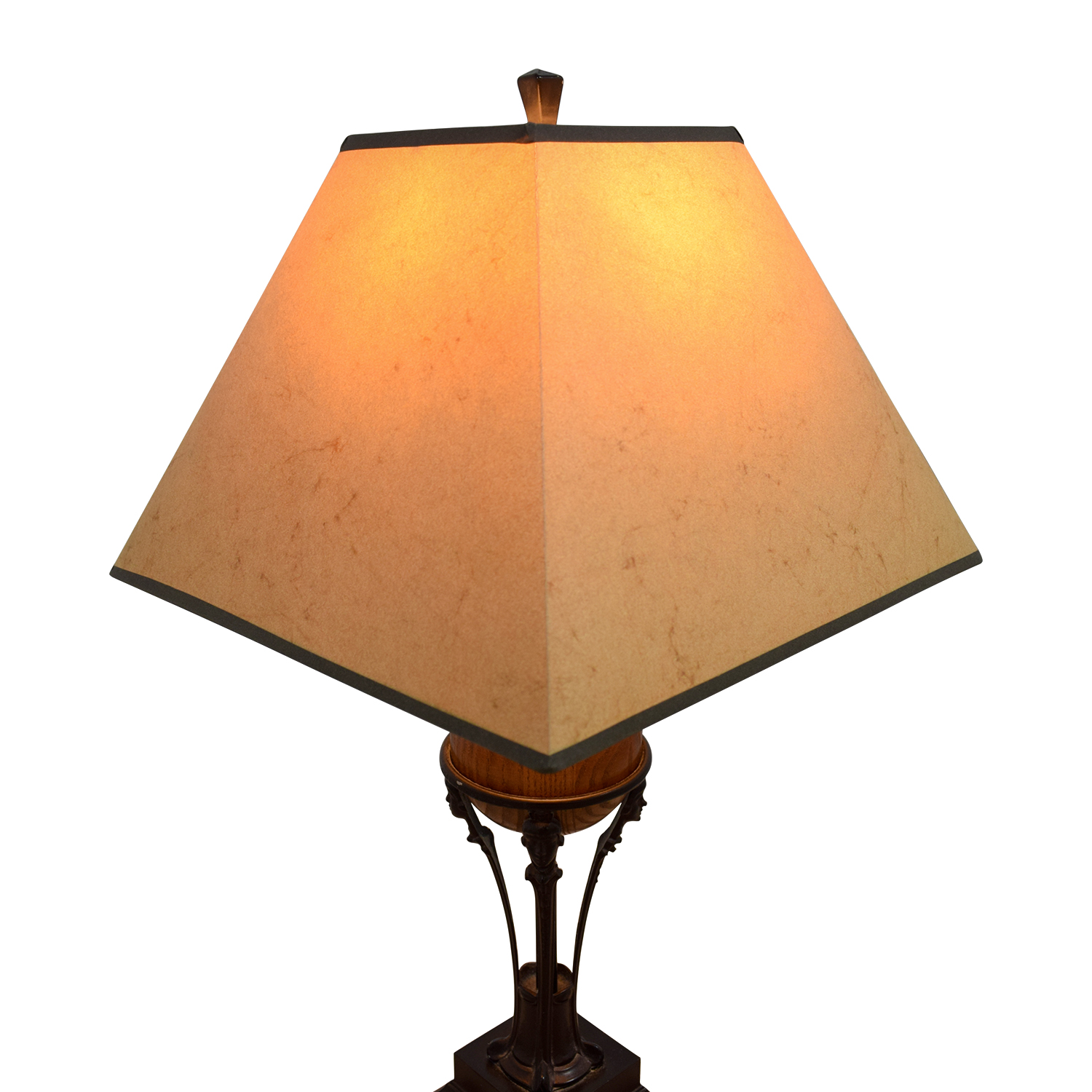 Beige with Brown Wood and Metal Base Lamp / Sofas