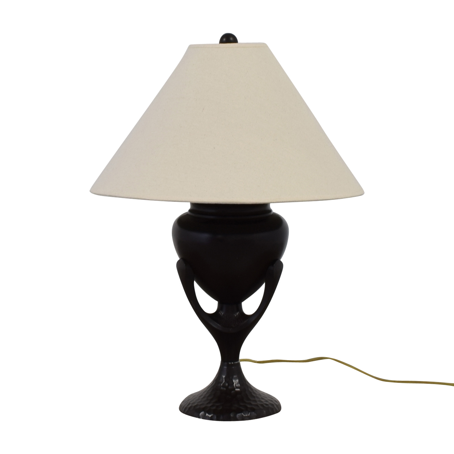 Beige with Brown Sculpted Metal Base Lamp Brown, White
