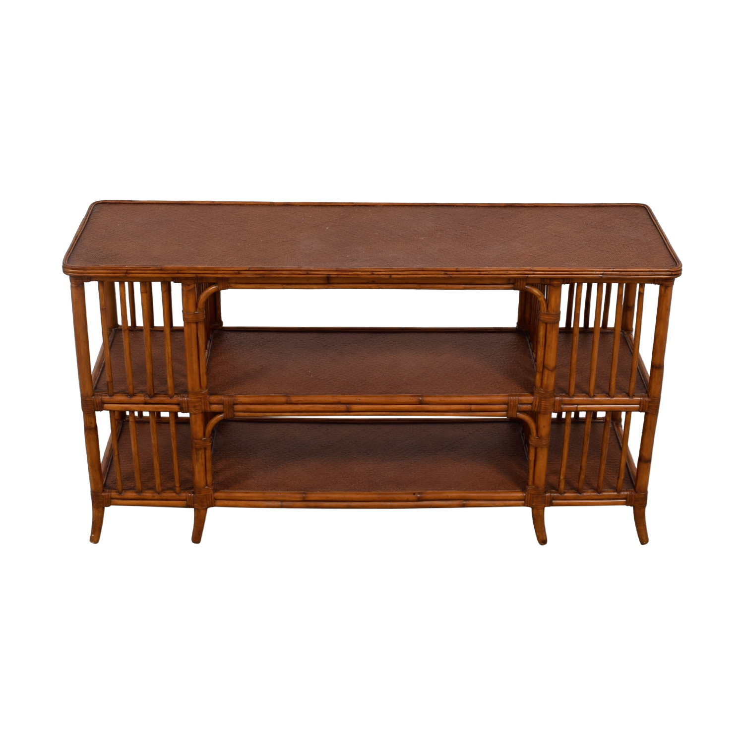 Ethan Allen Ethan Allen Rattan Media Console Sofa Table dimensions