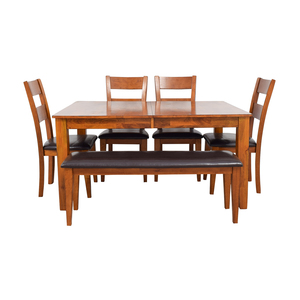 Steve Silver Co Mango Butterfly Leaf Dining Table with Chairs and Bench sale
