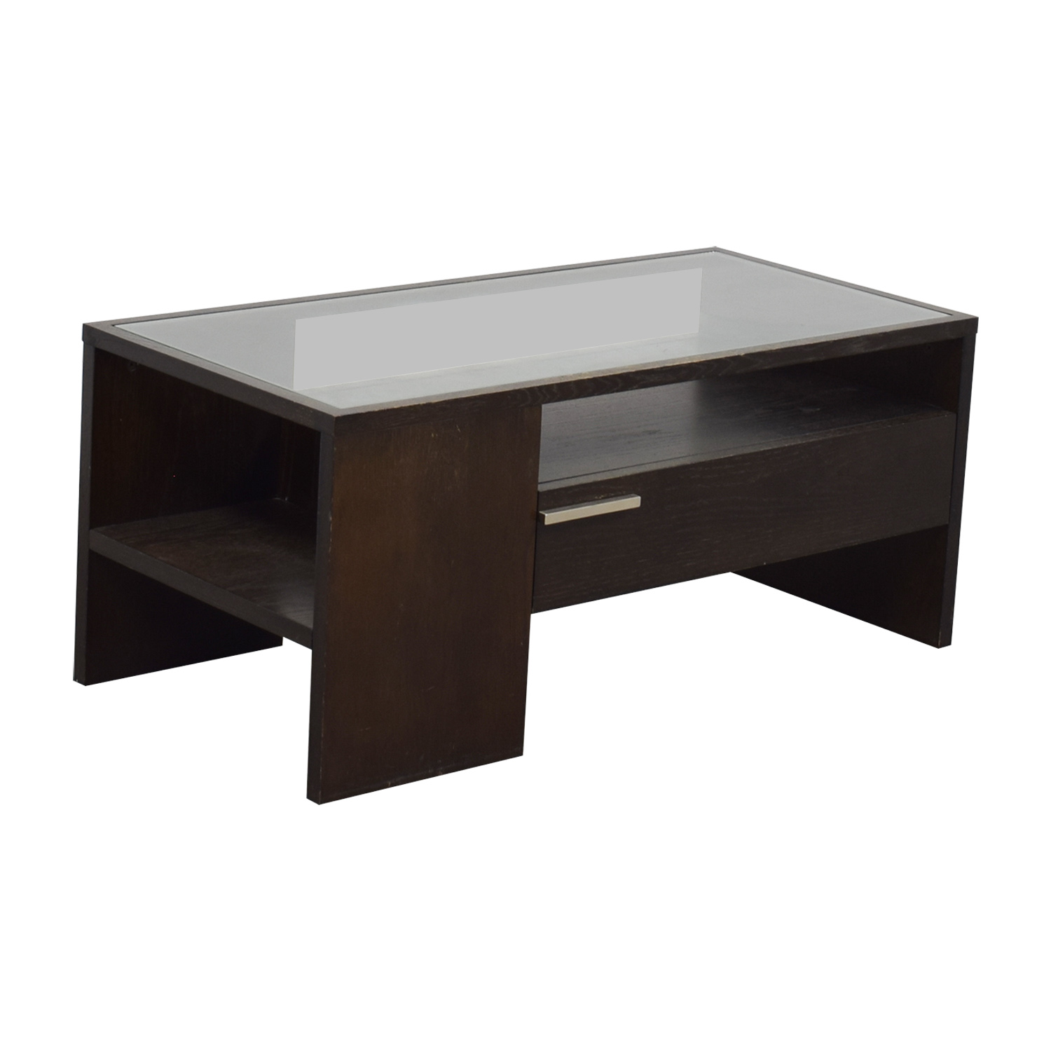 West Elm Single Drawer Glass Top Coffee Table
