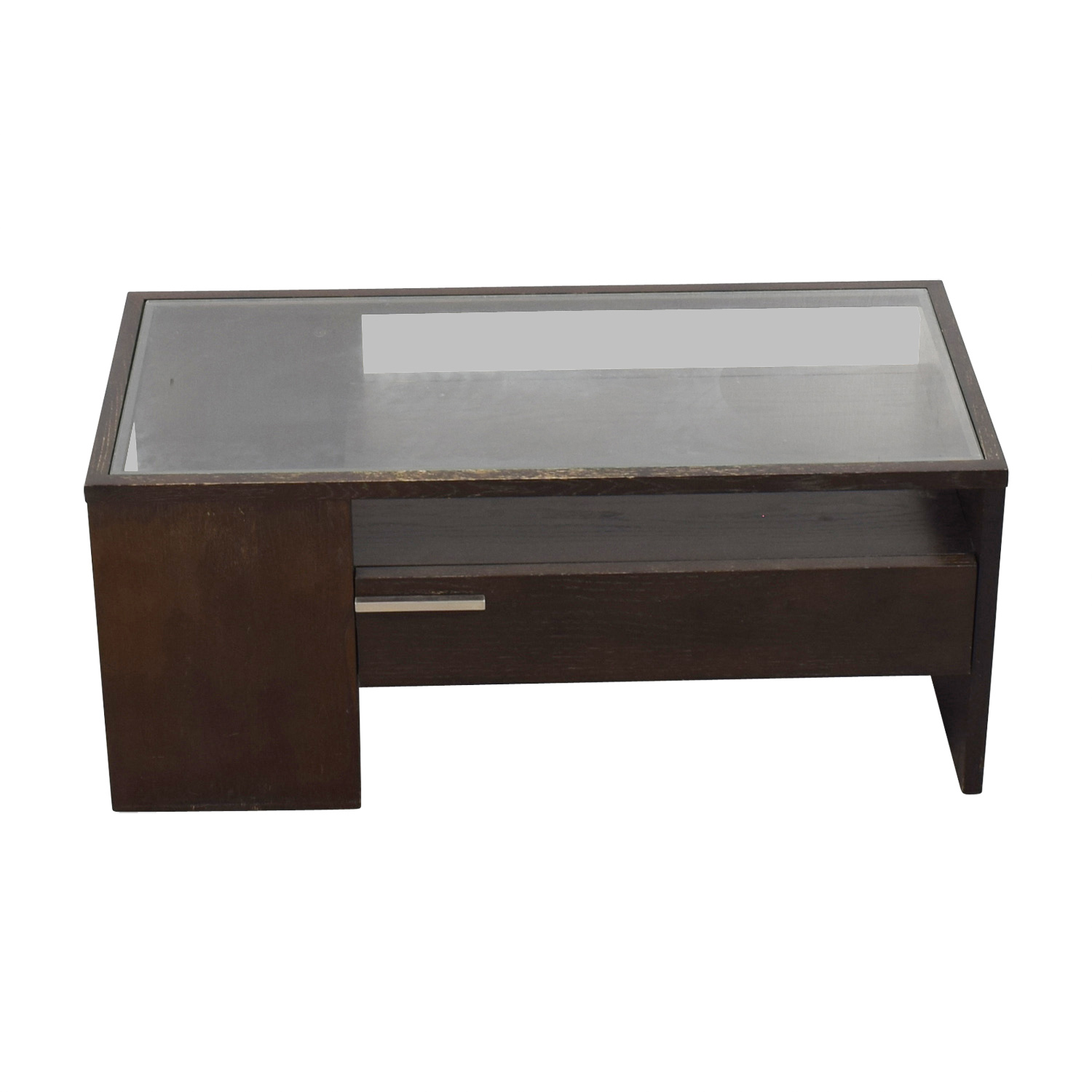West Elm West Elm Single Drawer Glass Top Coffee Table discount