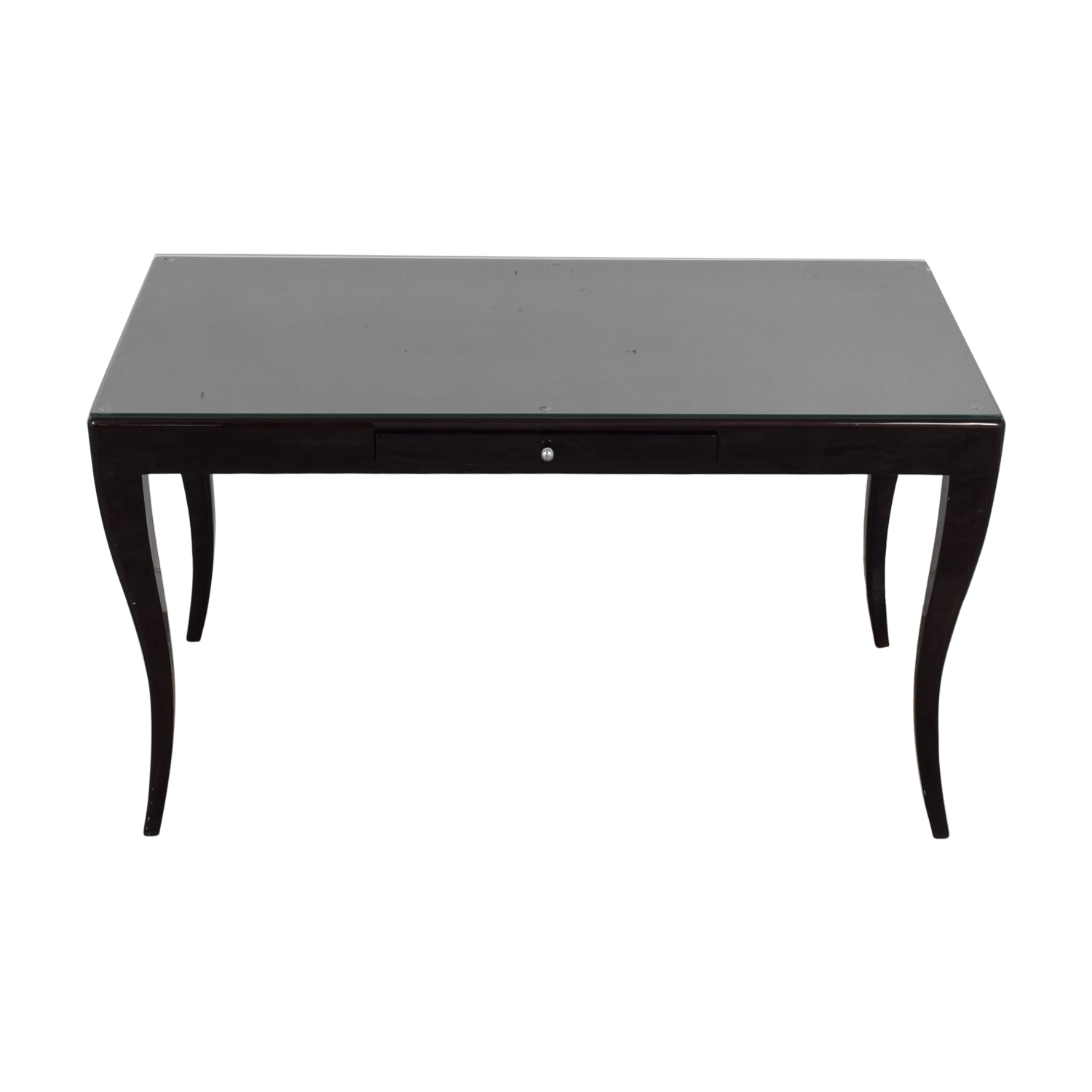 Kravet Kravet Single Drawer Black Wood Desk with Glass Protector coupon