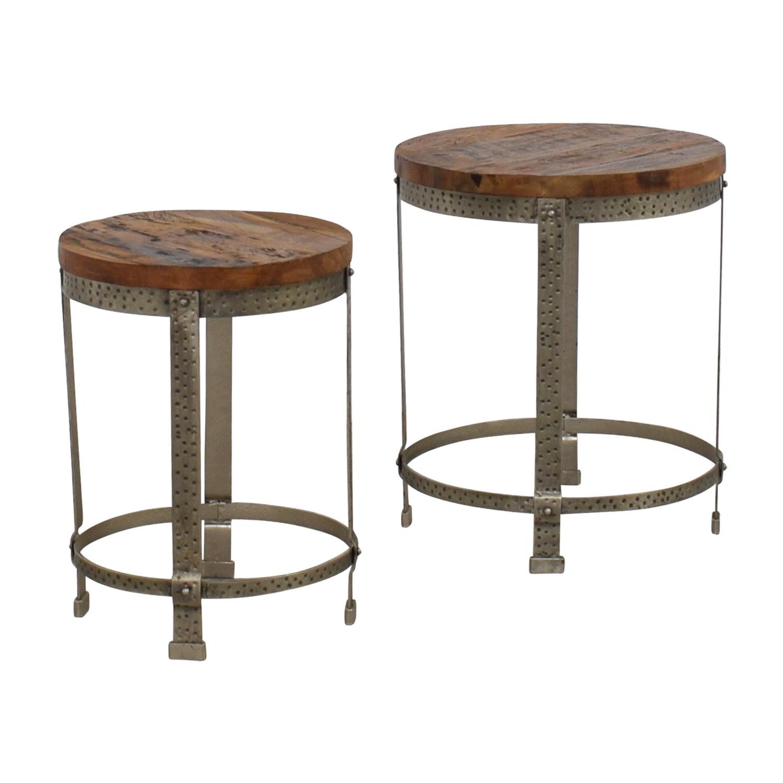 Rustic Wood And Metal Coffee Tables: Rustic Wood And Metal Uneven Round Coffee Tables