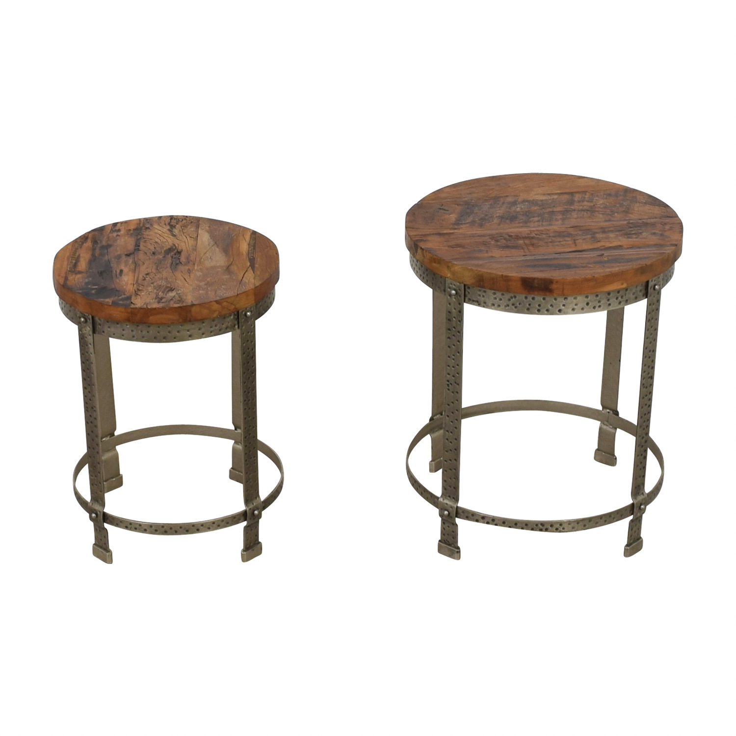 shop  Rustic Wood and Metal Uneven Round Coffee Tables online