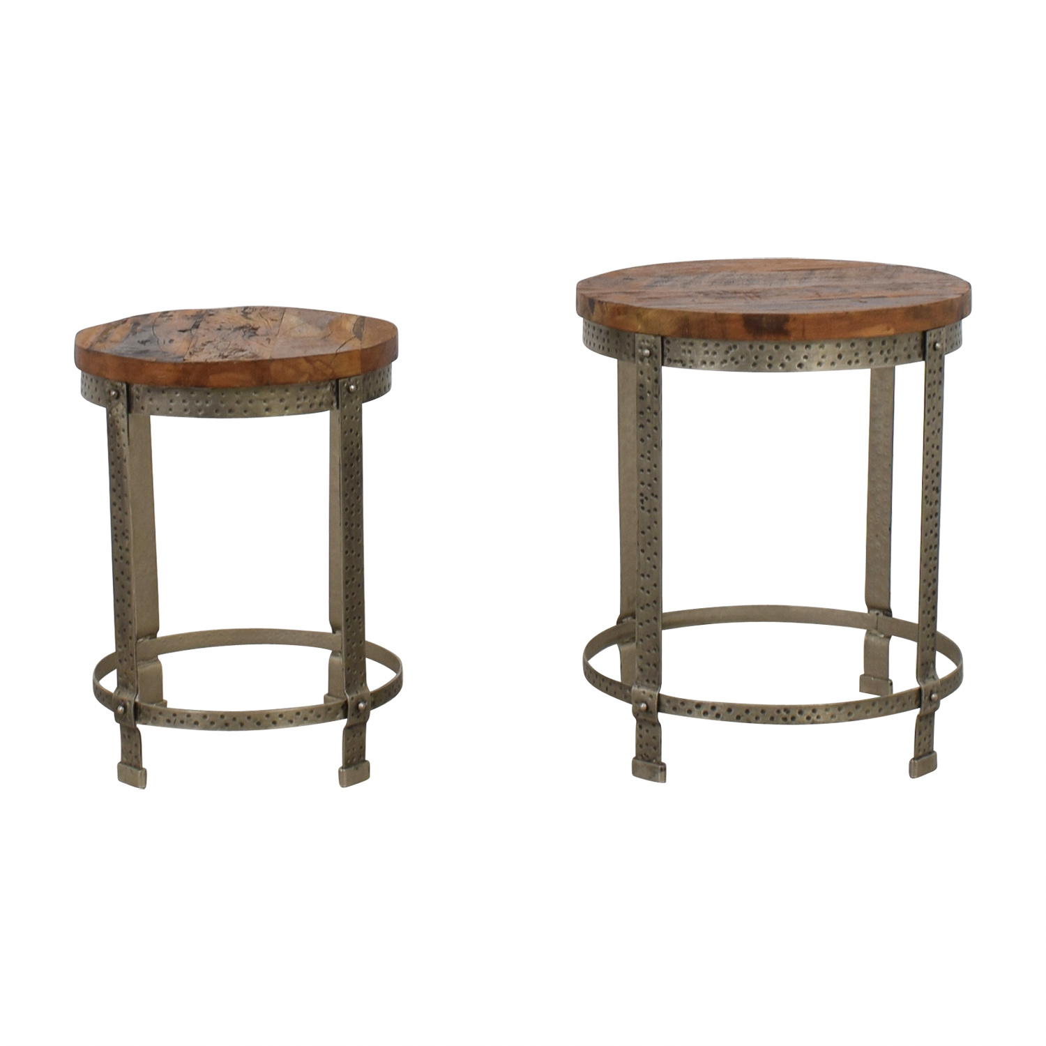 Round Coffee Table With Chairs.60 Off Rustic Wood And Metal Uneven Round Coffee Tables Chairs