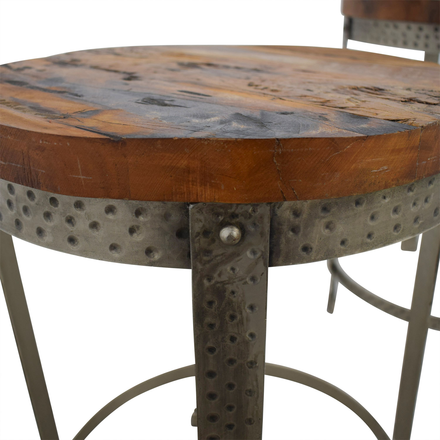 Terrific 60 Off Rustic Wood And Metal Uneven Round Coffee Tables Chairs Machost Co Dining Chair Design Ideas Machostcouk