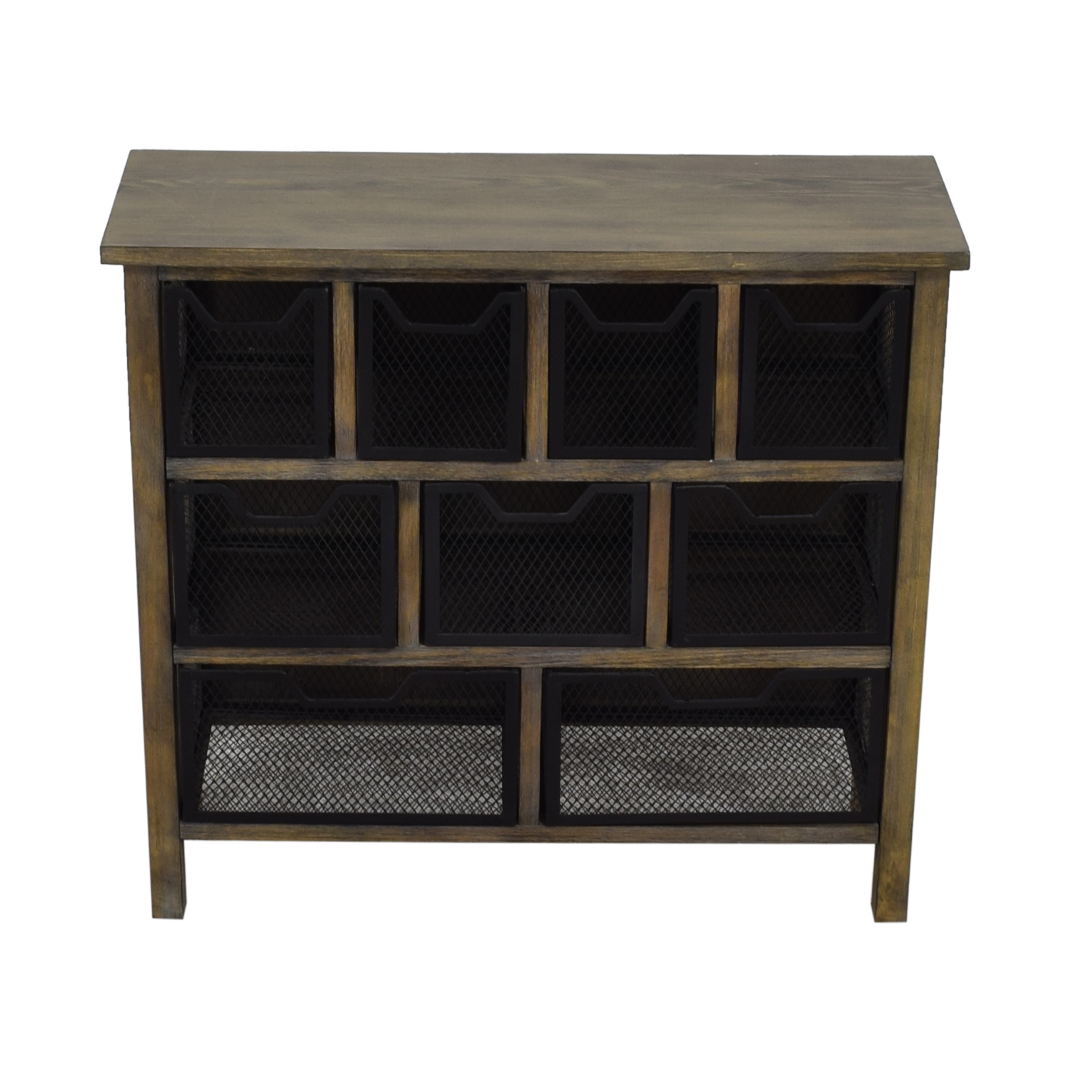 shop Rustic Wood with Metal Baskets Cabinet  Cabinets & Sideboards