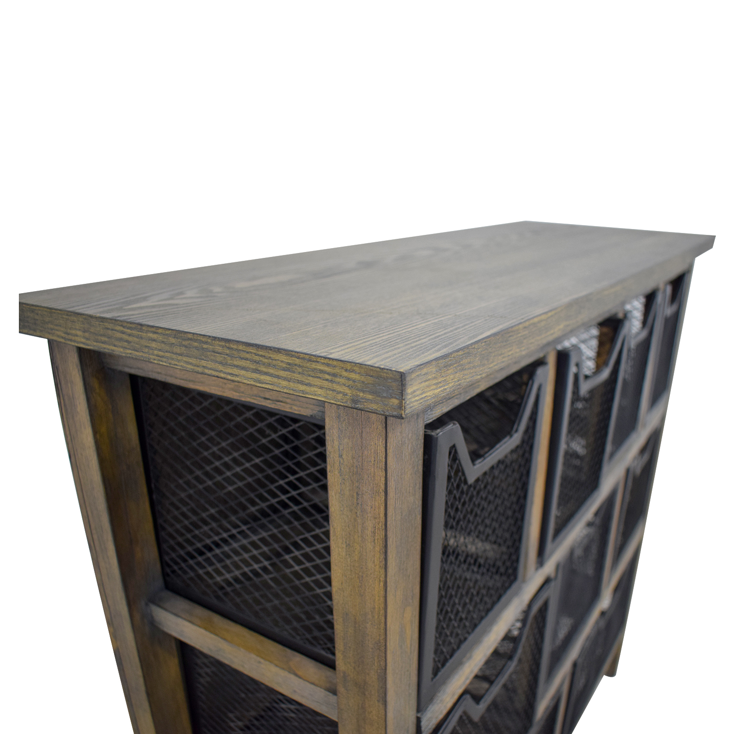 74 Off Rustic Wood With Metal Baskets Cabinet Storage