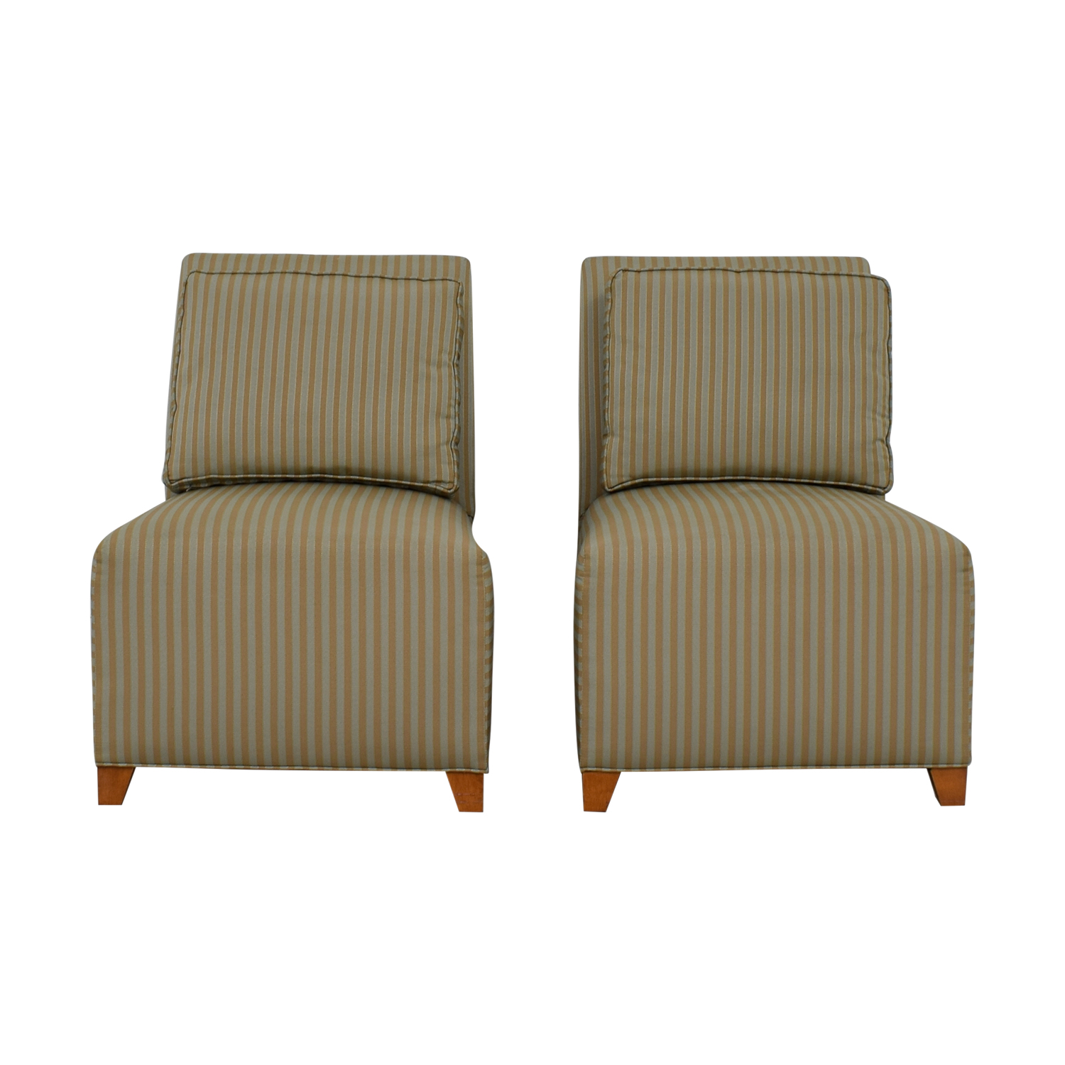 Ethan Allen Striped Slipper Accent Chairs / Sofas