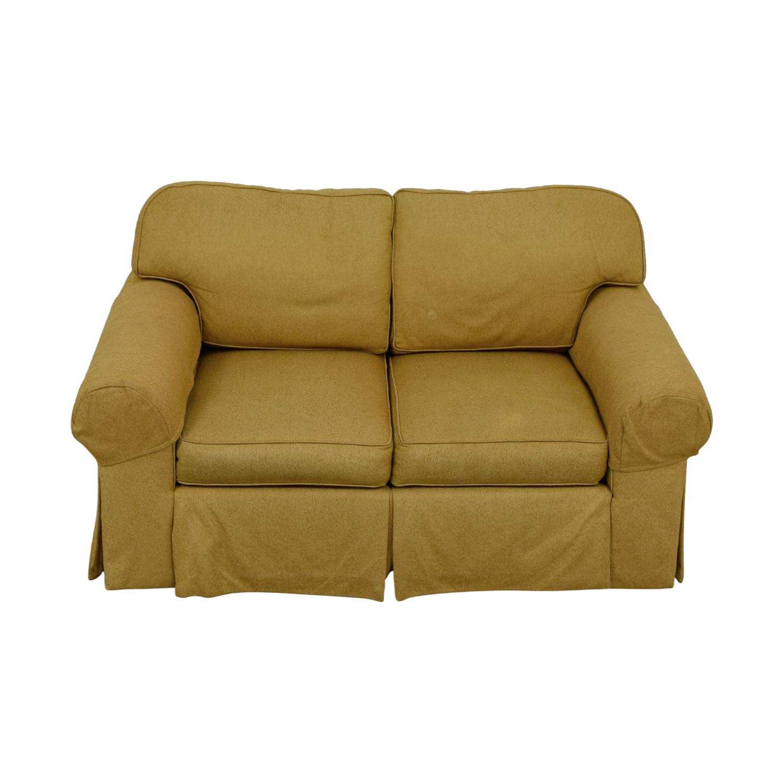 shop Ethan Allen Tan Two-Cushion Love Seat Ethan Allen