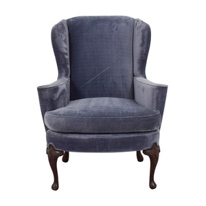 Winged Blue Velvet Accent Chair second hand