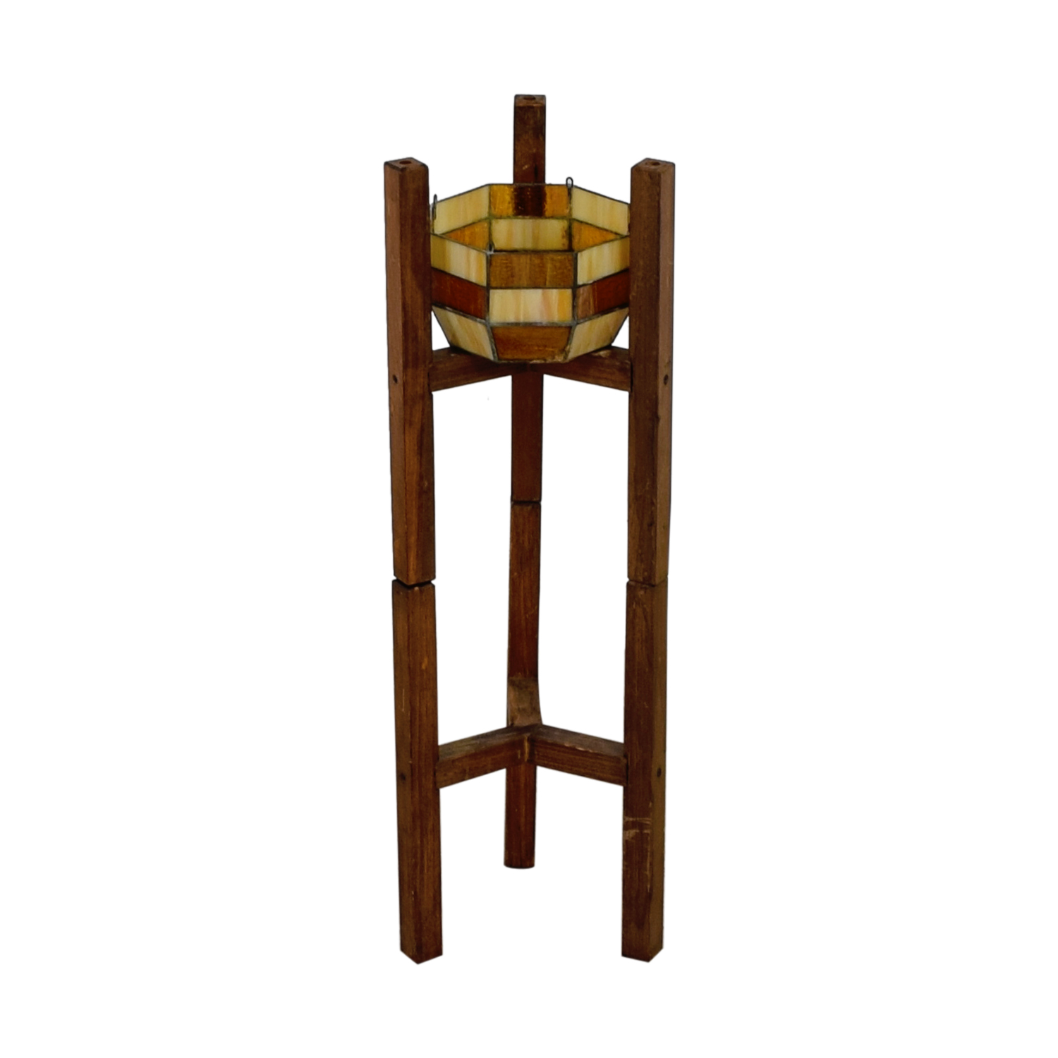 buy Wooden Plant Stand with Stained Glass Bowl  End Tables