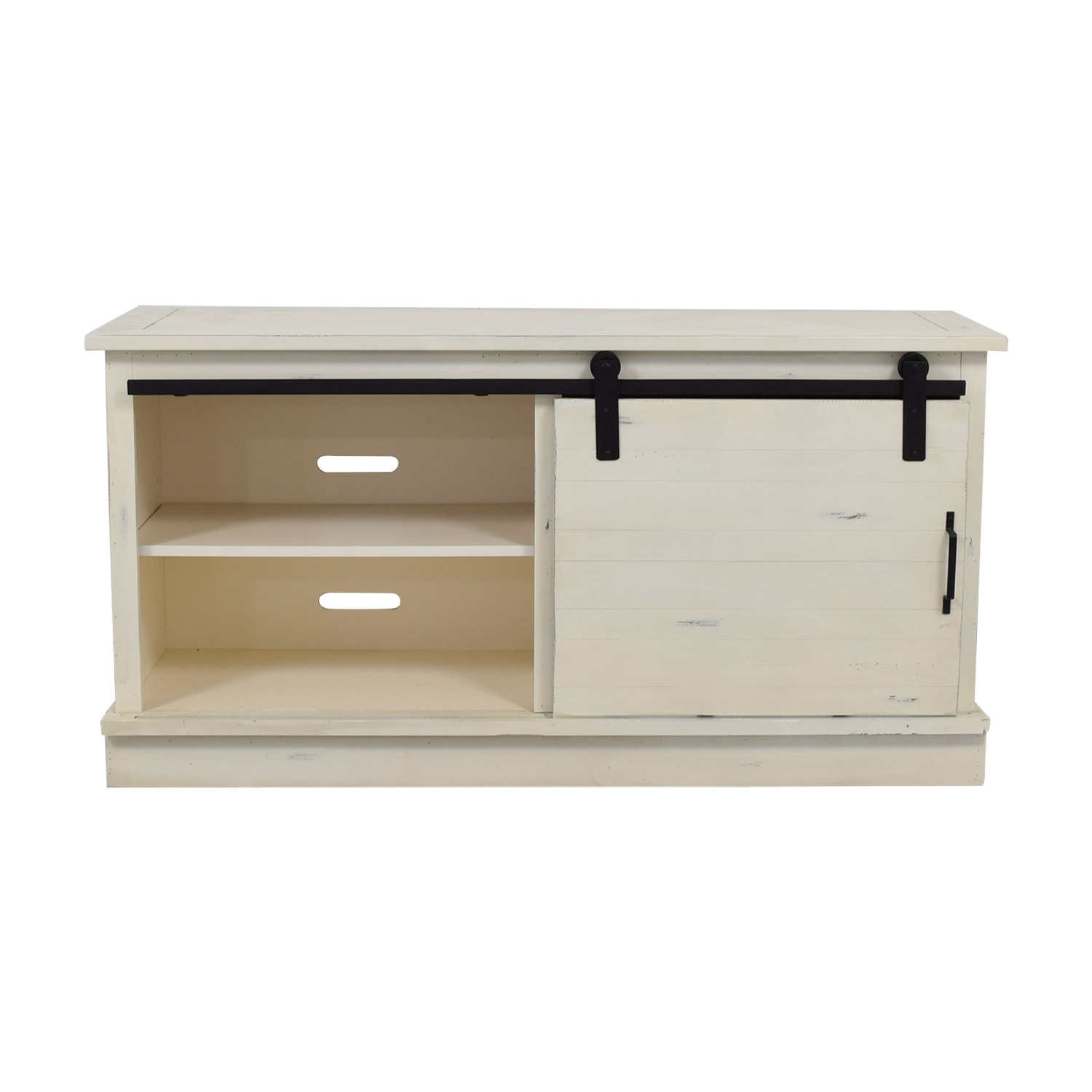 shop Distressed White Credenza with Three-Drawers and Shelves  Sofas