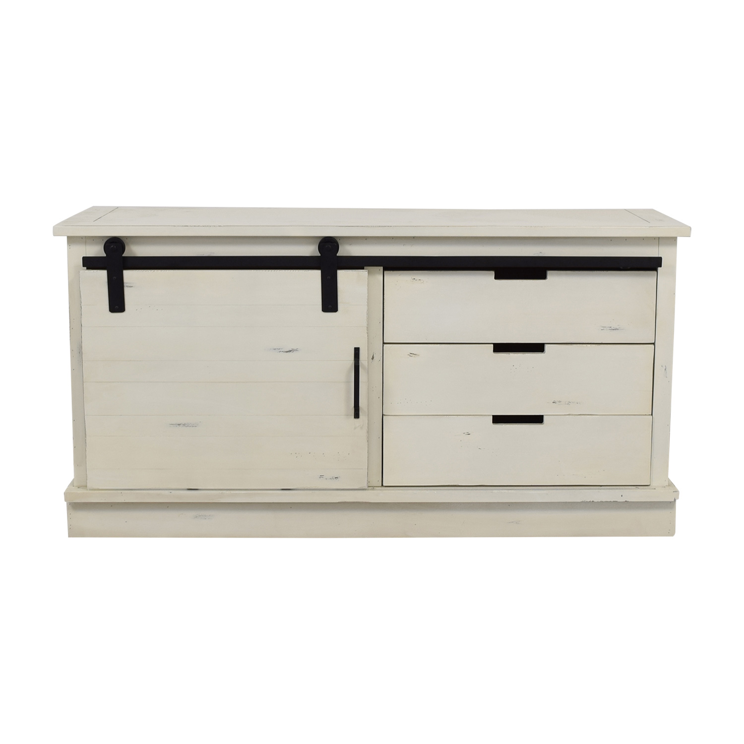 Distressed White Credenza with Three-Drawers and Shelves dimensions