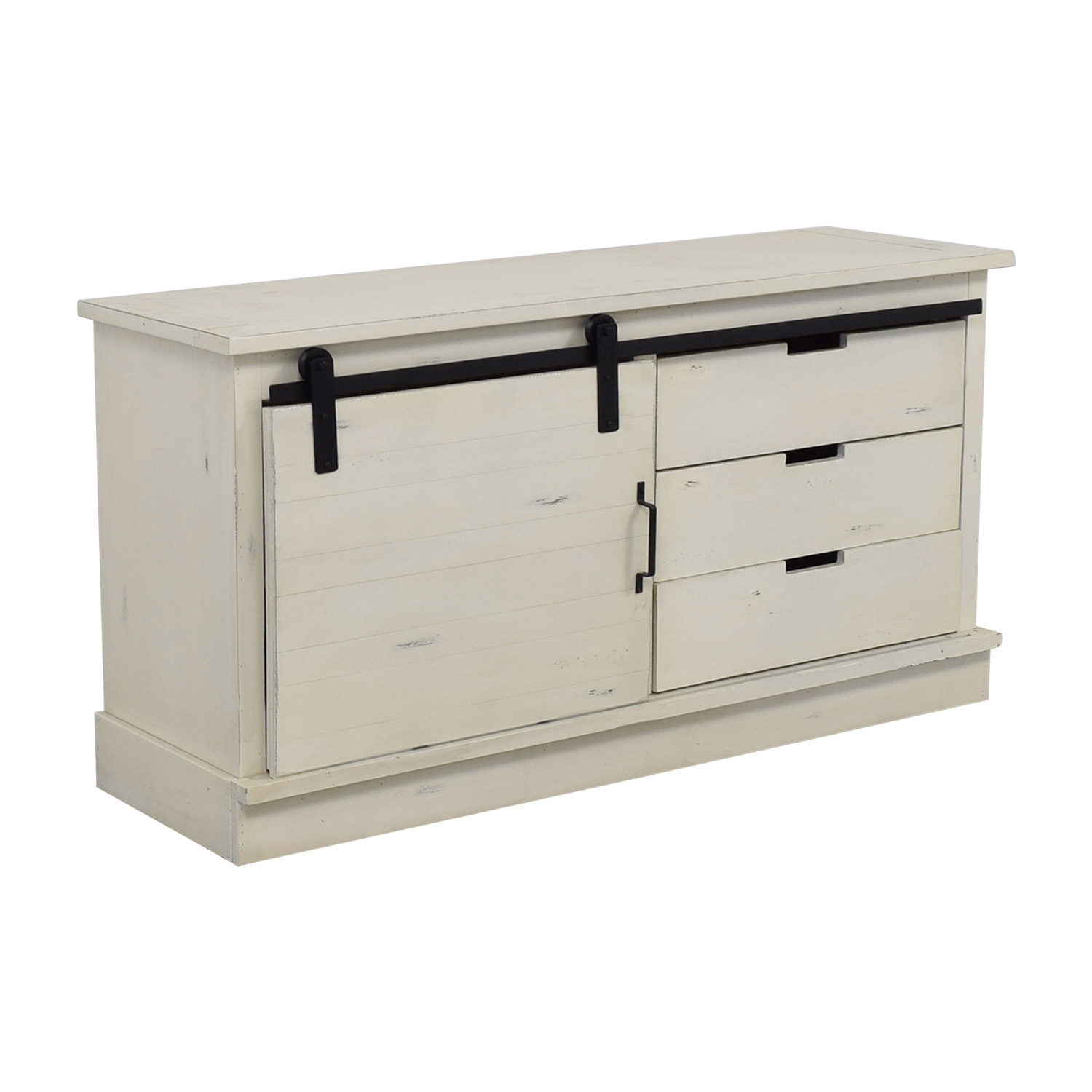 Distressed White Credenza With Three-Drawers And