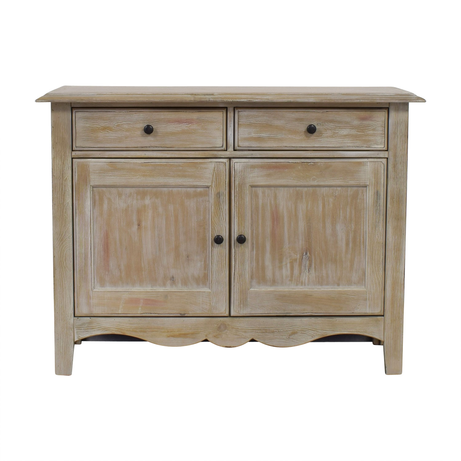 Distressed Wood Two-Drawer Cabinet second hand