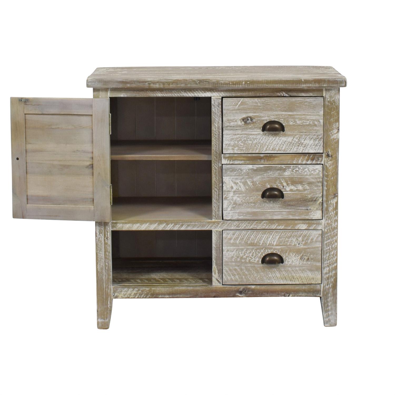 Distressed Wood Three Drawer Storage