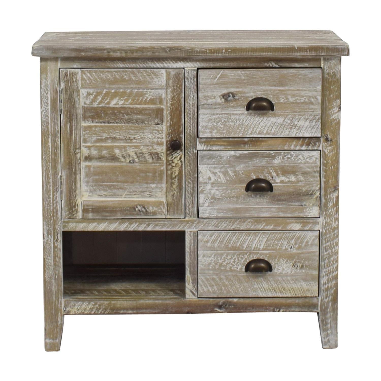 Distressed Wood Three Drawer Storage Cabinet Storage ...