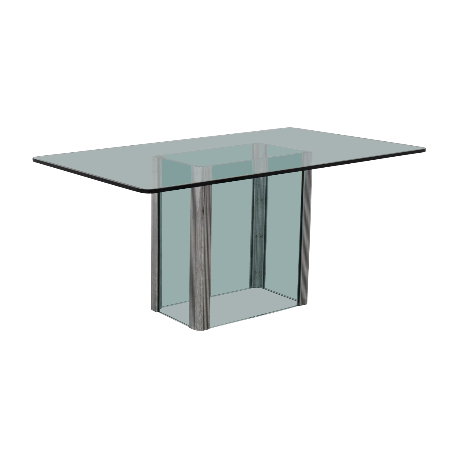 90 off glass and chrome dining table tables. Black Bedroom Furniture Sets. Home Design Ideas