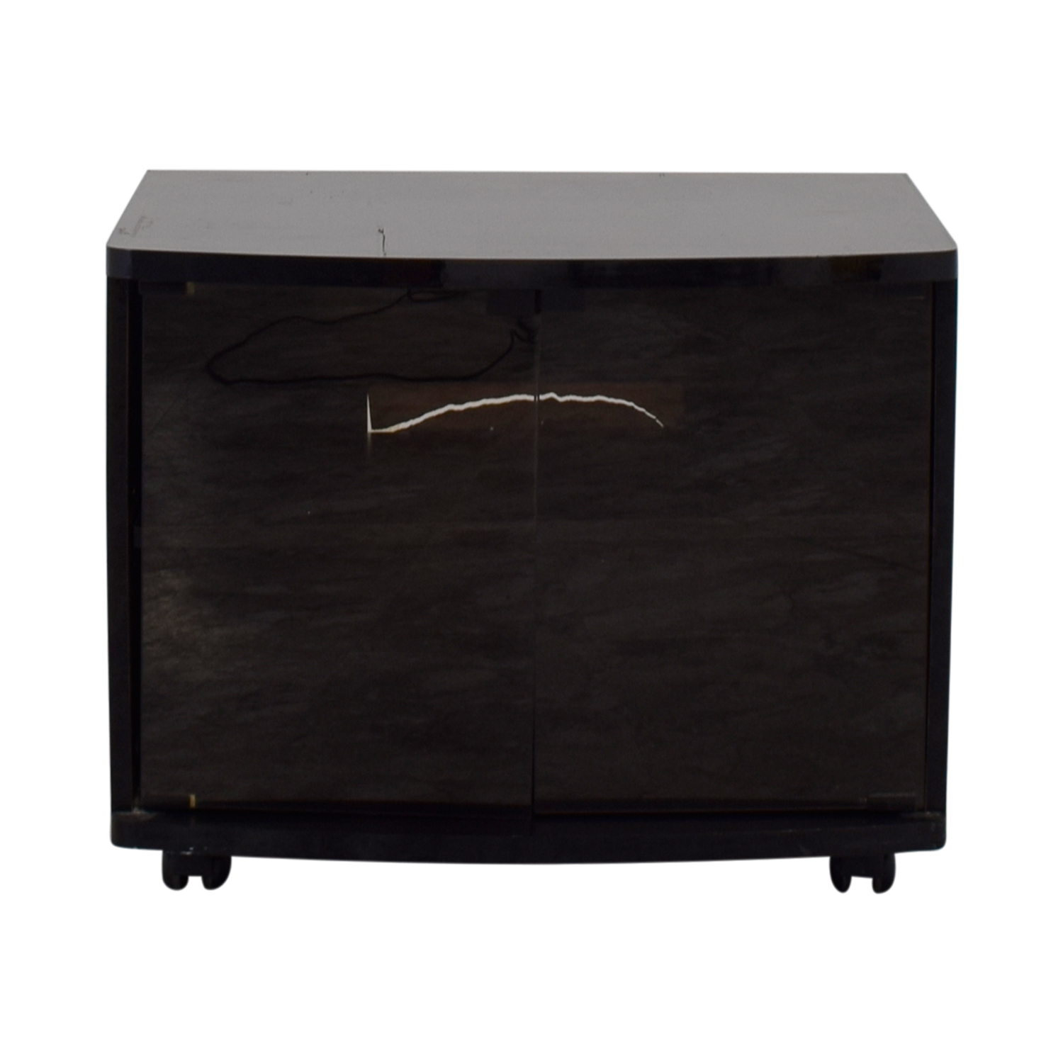 Black Lacquer and Glass Door TV Stand Media Units