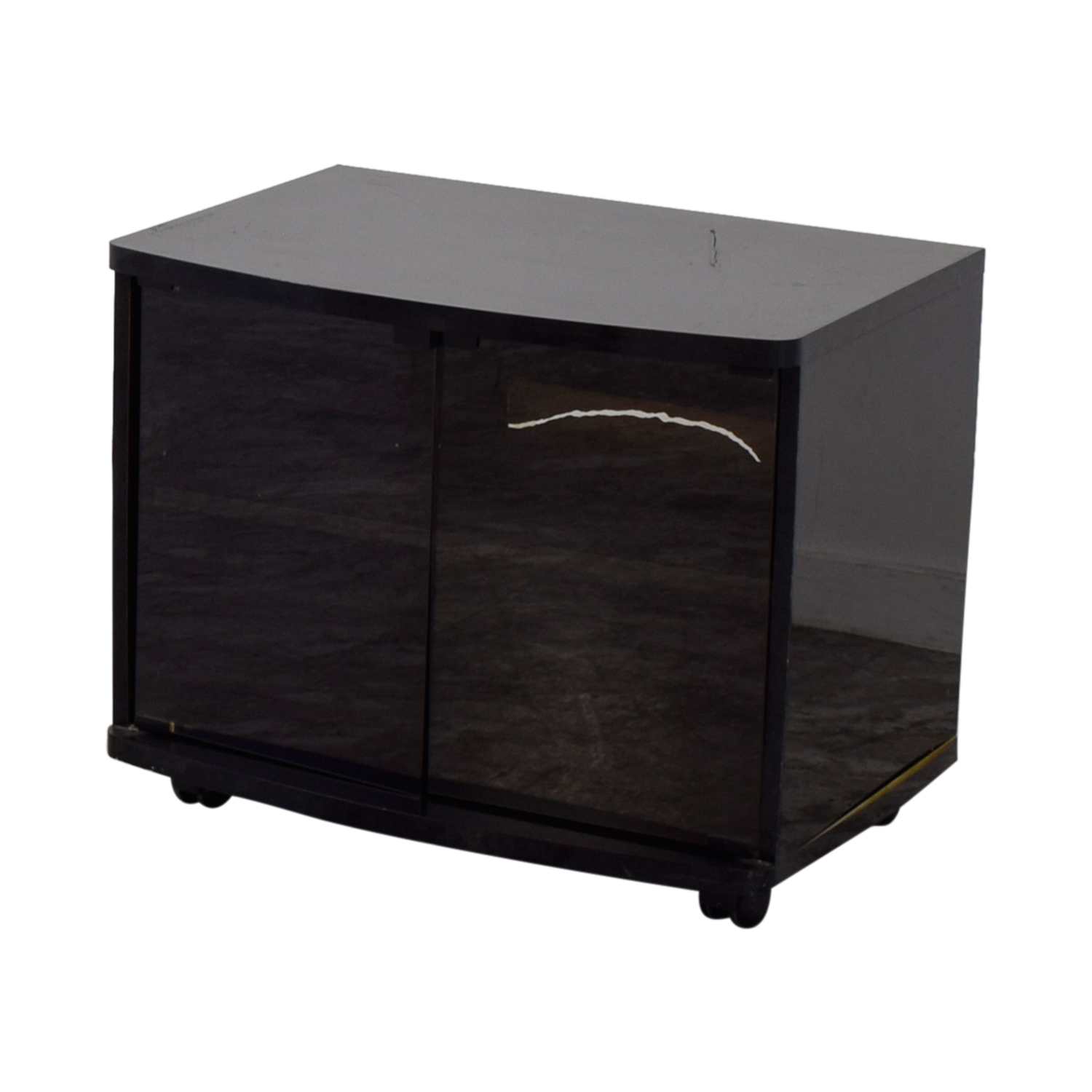 90% OFF - Black Lacquer and Glass Door TV Stand / Storage