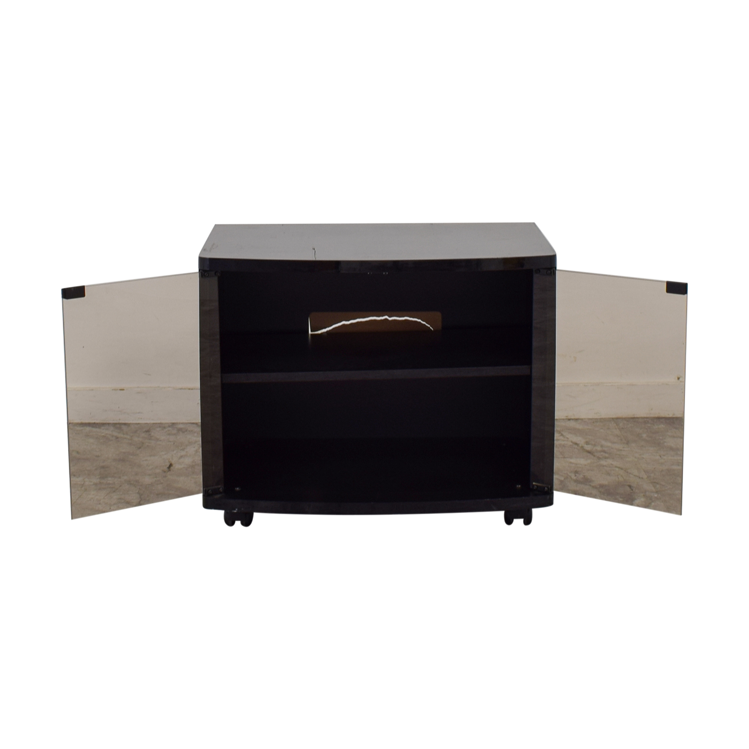 Black Lacquer and Glass Door TV Stand Black