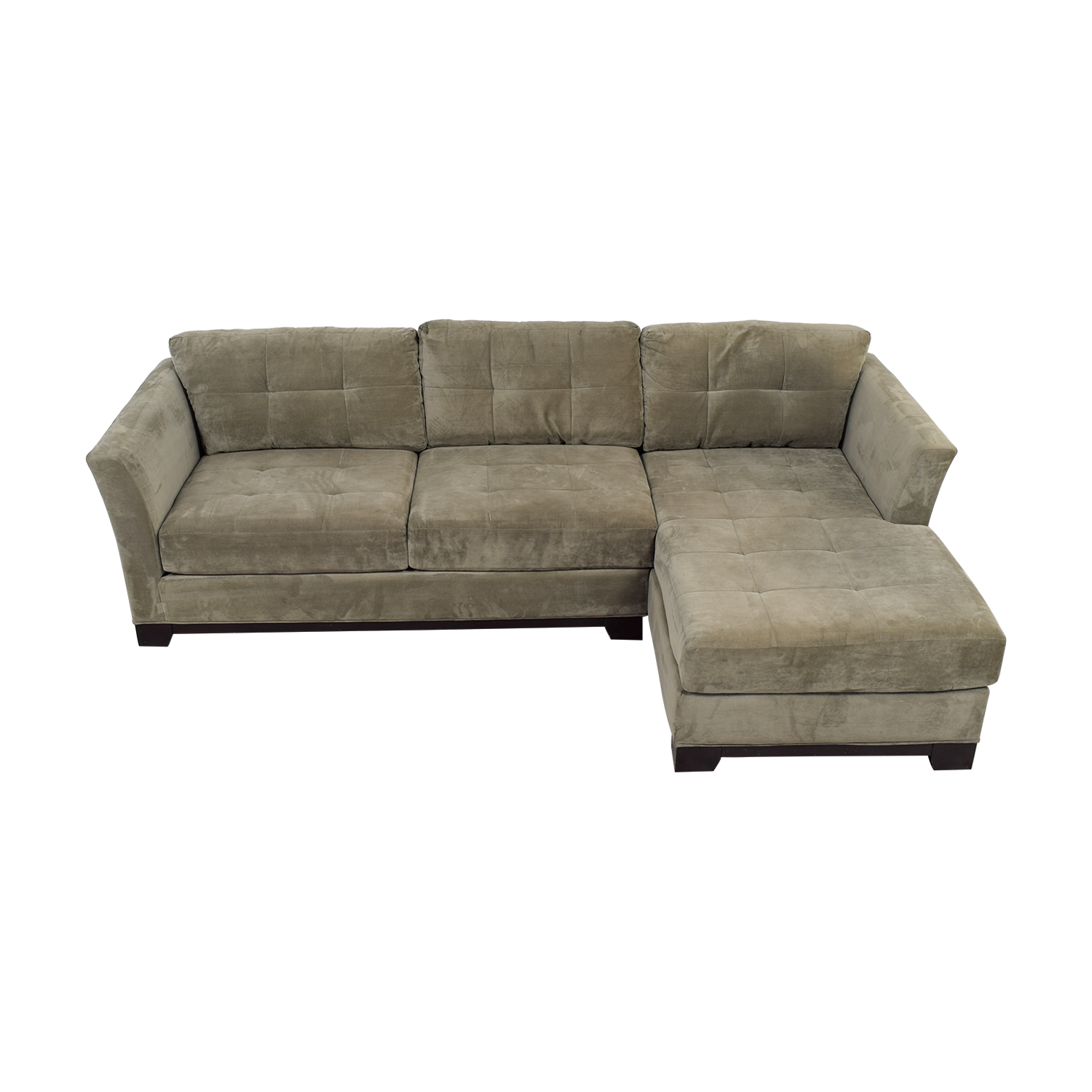 Macy's Macy's Elliot Grey Microfiber Semi-Tufted Chaise Sectional used