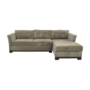 shop Macy's Elliot Grey Microfiber Semi-Tufted Chaise Sectional Macy's