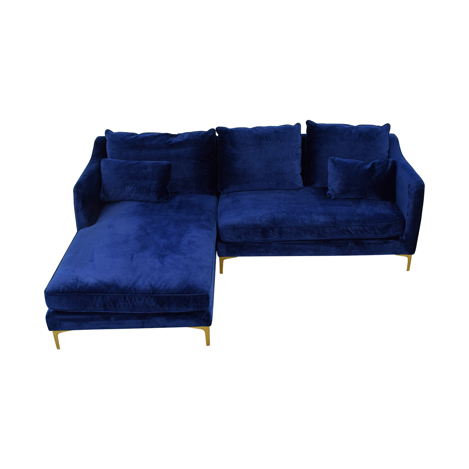 buy Caitlin Oxford Blue Left Chaise Sectional