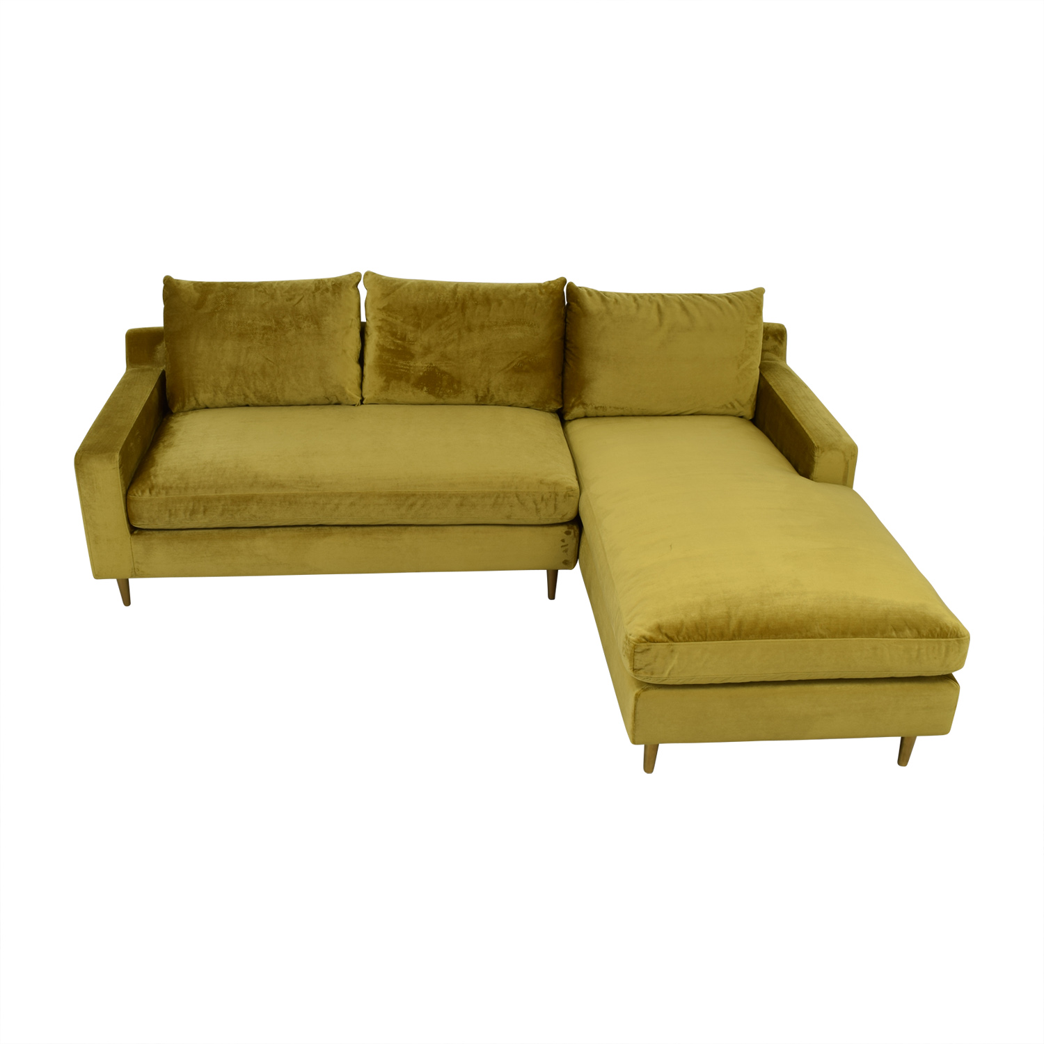 Solan Yellow Microfiber Right Chaise Sectional Yellow