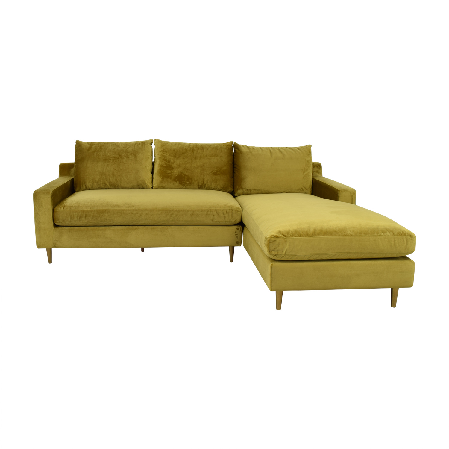 Solan Yellow Microfiber Right Chaise Sectional / Sofas