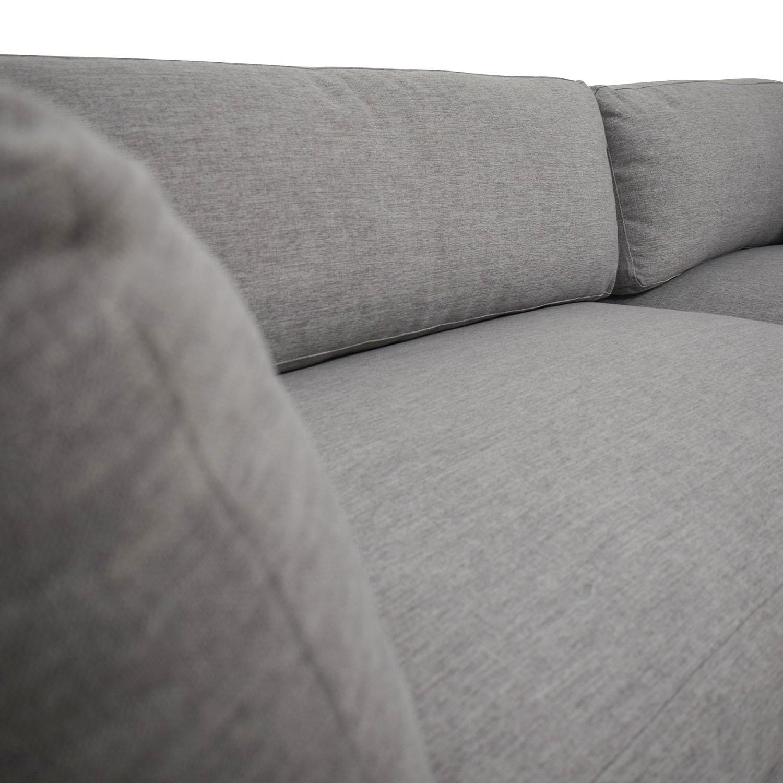 Groovy 50 Off Grey Chaise Sectional With Wood Base Sofas Creativecarmelina Interior Chair Design Creativecarmelinacom