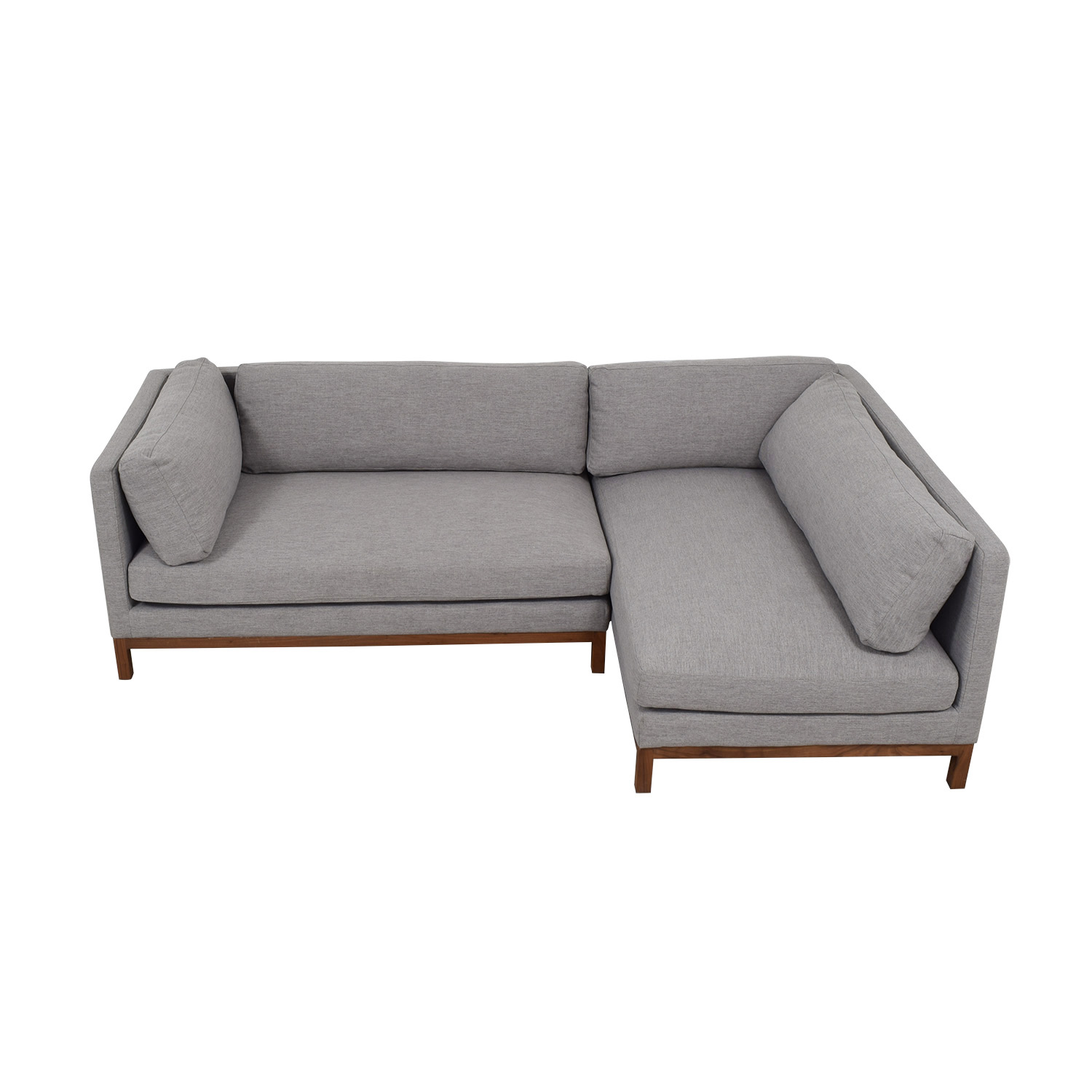 Outstanding 50 Off Grey Chaise Sectional With Wood Base Sofas Creativecarmelina Interior Chair Design Creativecarmelinacom