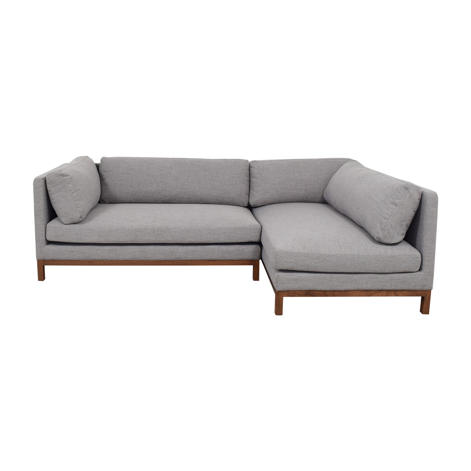Grey Chaise Sectional with Wood Base / Sofas