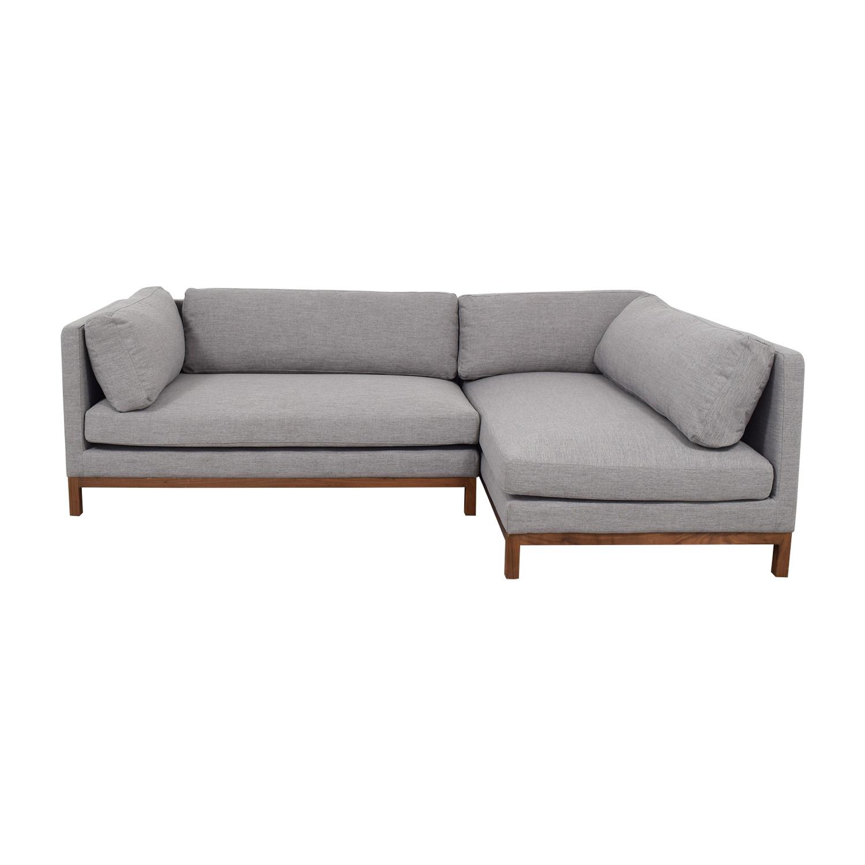 Fine 50 Off Grey Chaise Sectional With Wood Base Sofas Creativecarmelina Interior Chair Design Creativecarmelinacom