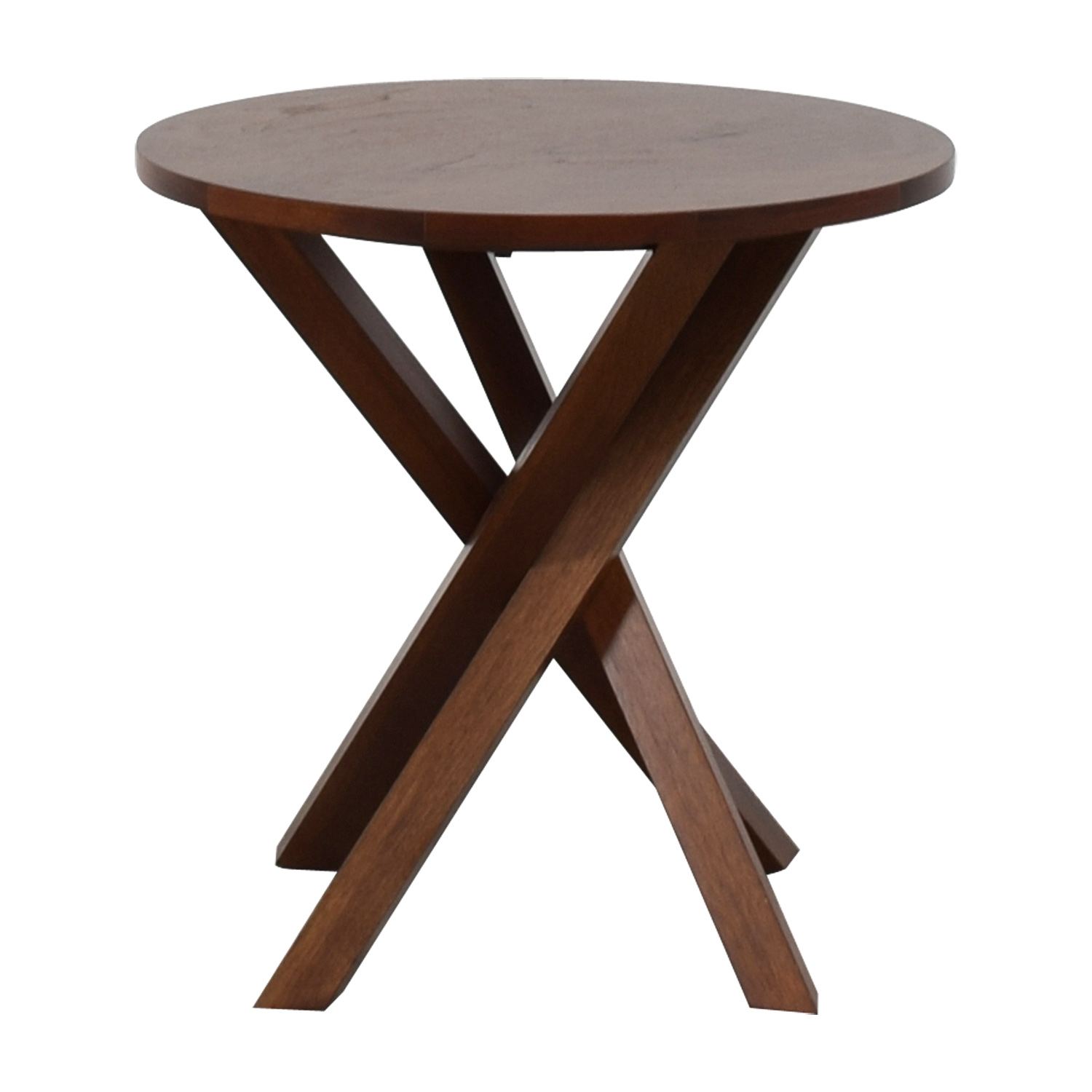 Crate & Barrel Round Wood End Table / Tables