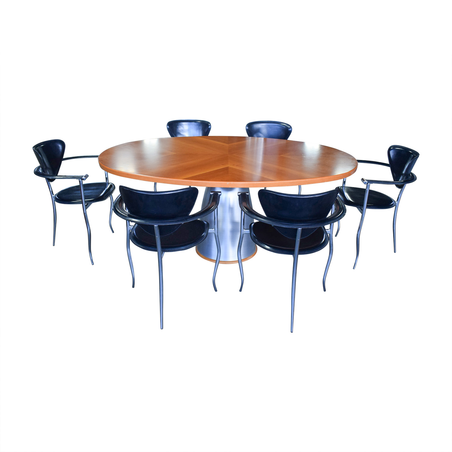 shop Cattelan Wood and Steel Table with Black Chairs Dining Set Cattelan Tables